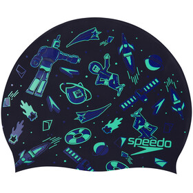 speedo Slogan Bonnet à motif Enfant, navy/green glow/violet